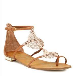 Sam Edelman Size 8 Tyra Jeweled Flat Sandal